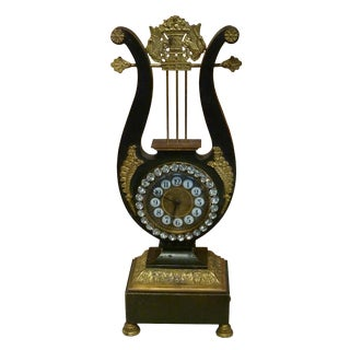 Late 19th Century Vintage French Gilt Bronze Lyre Neoclassical Clock For Sale