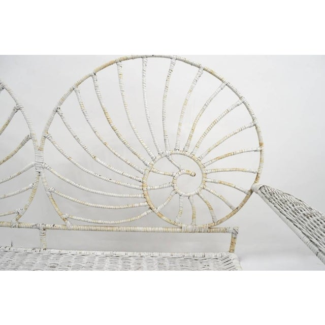 Nautilus Shell Back Wicker and Iron Garden Bench For Sale - Image 4 of 11