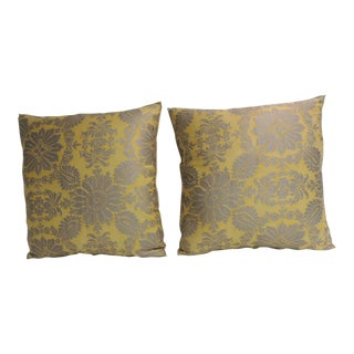 Pair of Vintage Yellow and Gold Floral Fortuny Decorative Pillows For Sale