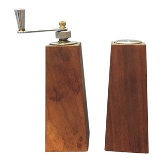 Danish Mid-Century Teak Salt Shaker & Pepper Grinder For Sale
