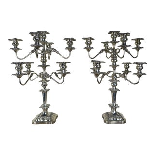 Pair of English Sheffield 9-Light Candelabra, Circa 1900s For Sale