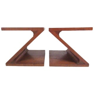 Lane Vintage Modern Z-Shaped End Tables - A Pair For Sale