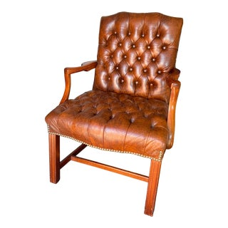 Vintage Classic Leather Inc Tufted Leather Guest Chair For Sale