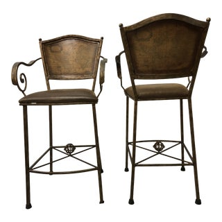 Worldly Bar Stools - a Pair For Sale