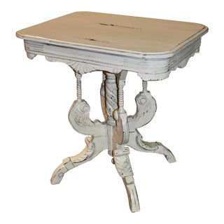Antique Victorian Style Carved Distressed Accent Table For Sale
