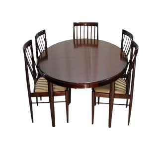h.w. Klein Rosewood Dining Table W/ Two Leaves and Six Highback Chairs For Sale