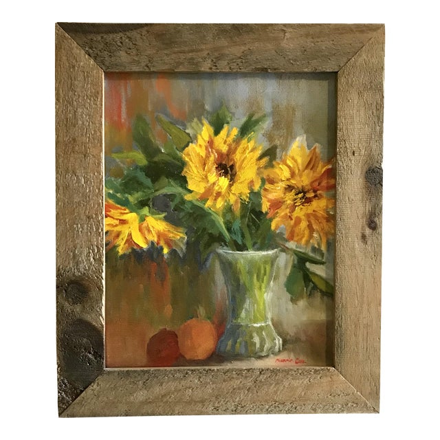 Still Life with Sunflowers Signed Original Oil Painting For Sale
