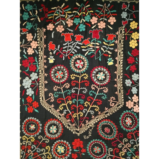 "Black Late 1800s Hand-Stitched Suzani- 3' X 5' 3"" For Sale - Image 8 of 13"