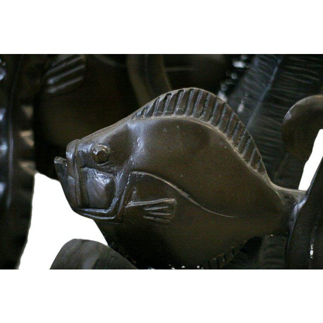 Contemporary Aquatically Themed Bronze Console Table Base by Mimi London For Sale - Image 3 of 8