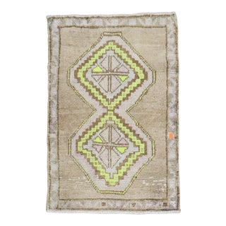 Lime Outline Vintage Turkish Rug Mat, 2 X 3 For Sale