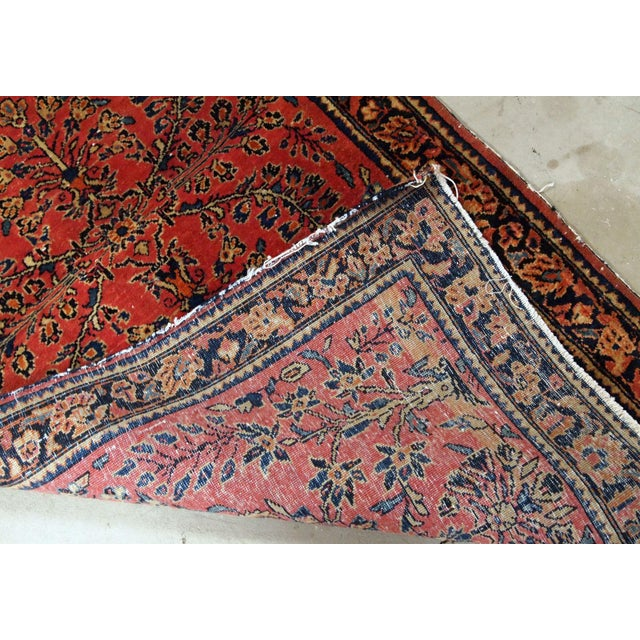 Red 1900s, Handmade Antique Persian Sarouk Runner 3.2' X 7.10' For Sale - Image 8 of 12