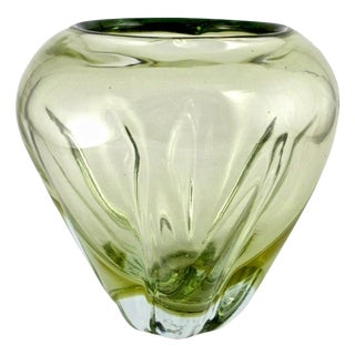 1980s Vintage Czech Hand Blown Light Green Crystal Vase For Sale