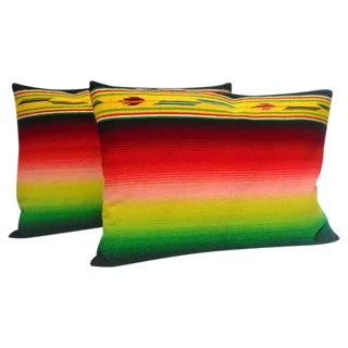 Mexican Indian Weaving, Serape Bolster Pillows For Sale