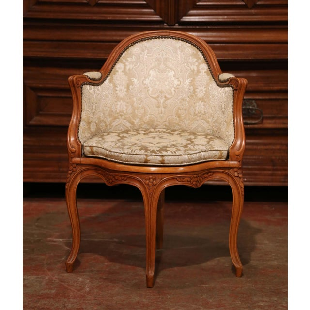 Wood Set of Four Early 20th Century French Louis XV Carved Walnut Desk Armchairs For Sale - Image 7 of 12