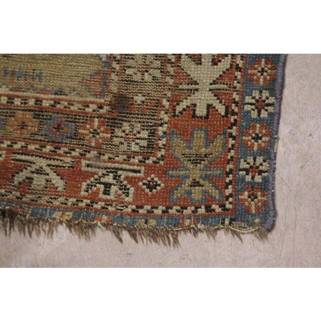 Textile Late 19th Century 'Super Worn' Antique Caucasian Rug For Sale - Image 7 of 9
