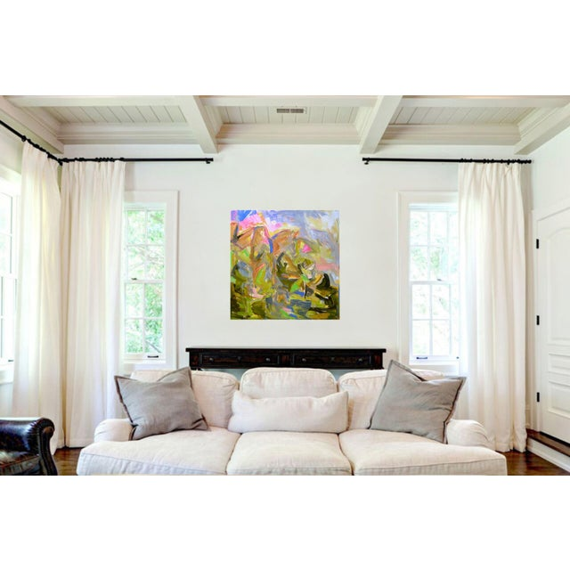 """Abstract """"Mountain Falls"""" by Trixie Pitts Large Abstract Oil Painting For Sale - Image 3 of 8"""