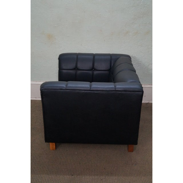 Mid-Century Modern Mid Century Modern Black Faux Leather Tufted Club Chair For Sale - Image 3 of 10