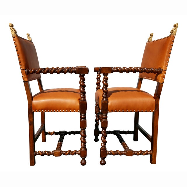 Pair of Italian Baroque Walnut Armchairs For Sale - Image 11 of 13