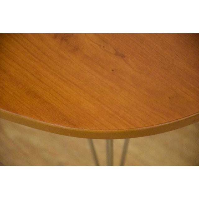 1980s Cherry and Chrome Oval Coffee Table For Sale - Image 5 of 9