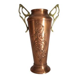 Antique Wmf Art Nouveau Copper & Brass Lily of the Valley Vase Jugendstil For Sale