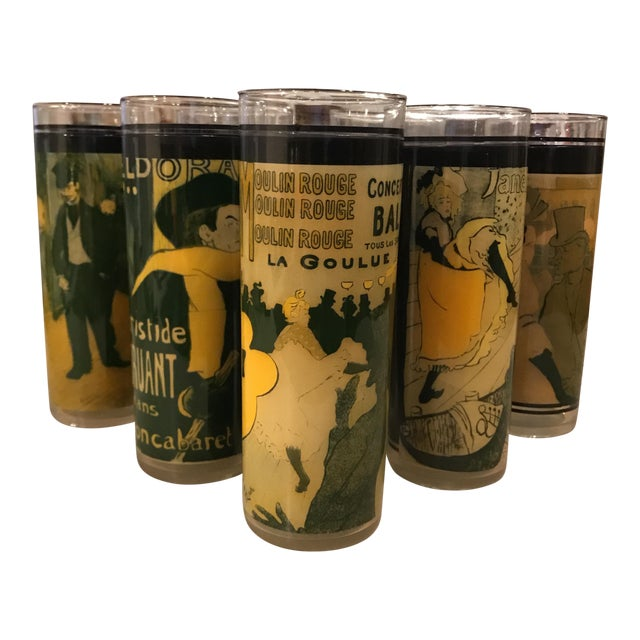 Moulin Rouge Cabaret Mid-Century Skyball Glasses - Set of 7 For Sale