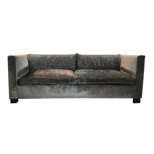 Tuxedo Style Two-Tone Velvet Upholstered Sofa - Custom by Saks and Santangelo For Sale In New York - Image 6 of 6