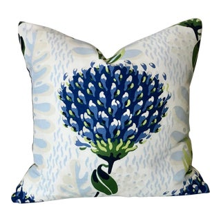 Thibaut Tiverton in Blue and Green Pillow Cover For Sale