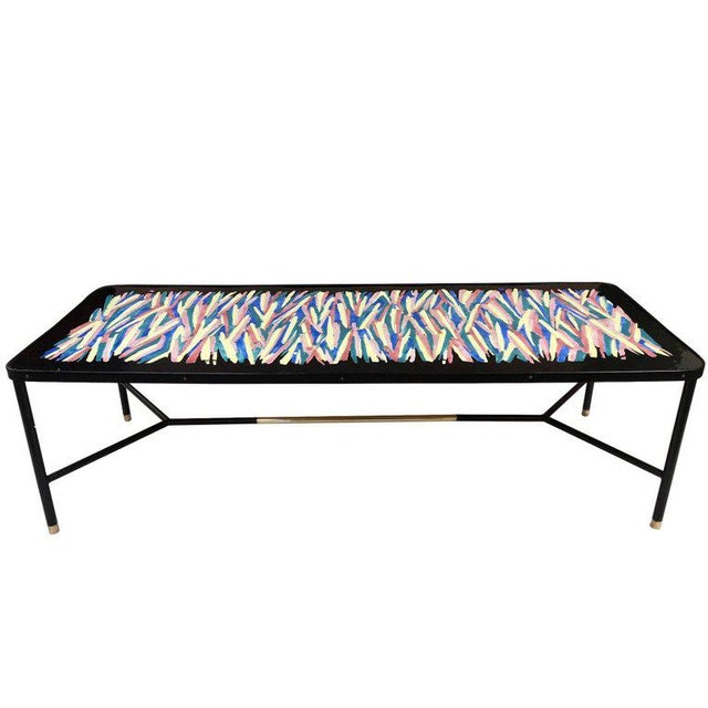 French Hand Painted and Bronze Trimmed Coffee Table For Sale - Image 4 of 4