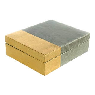 Jamie Young Faux Shagreen & Gold Leaf Box For Sale