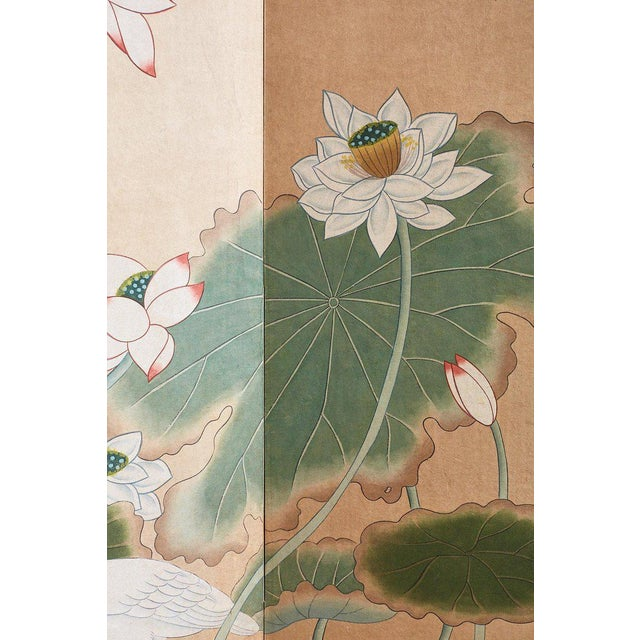 japanese cranes and lotus blossom byobu screen chairish
