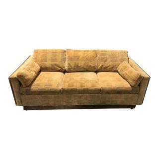Mid-Century Modern Tan Geometric Upholstery Sleeper Sofa For Sale