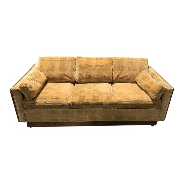Mid-Century Modern Tan Geometric Upholstery Sleeper Sofa | Chairish