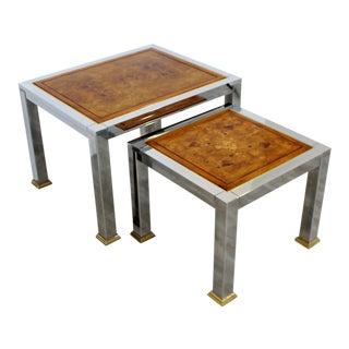 Mid Century Modern Nesting Stacked Tables Burl Wood Chrome Brass 1960s - a Pair For Sale