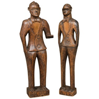 Hand Carved Wood Figures of the Jazz Age and Minstrel Period - a Pair For Sale