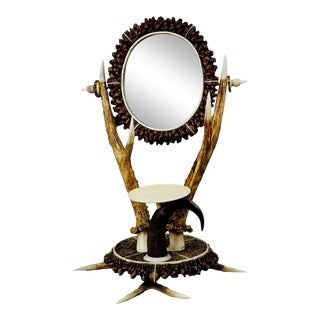 Antler Dressing Table Set With Mirror Ca. 1840 For Sale