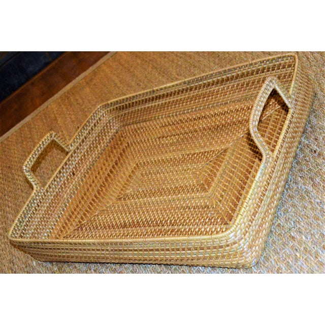 Cottage Style Rattan Woven Large Handled Tray For Sale In Houston - Image 6 of 9