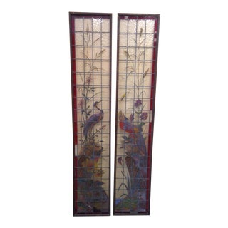 Late 19th Century French Painted and Fired Stained Glass Windows - a Pair For Sale