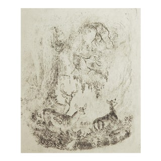 Tiny Deer in Forest Etching For Sale