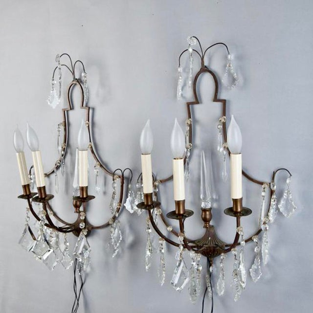 Pair French Delicate Three Light Metal and Crystal Sconces - Image 5 of 6