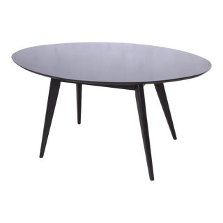 Jens Risom for Knoll Mid-Century Modern Black Lacquered Dining or Game Table, Newly Refinished For Sale