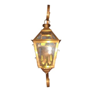 Outdoor American Copper Three-Light Lantern Wall Sconce With Brass Fittings by Charleston Lighting For Sale