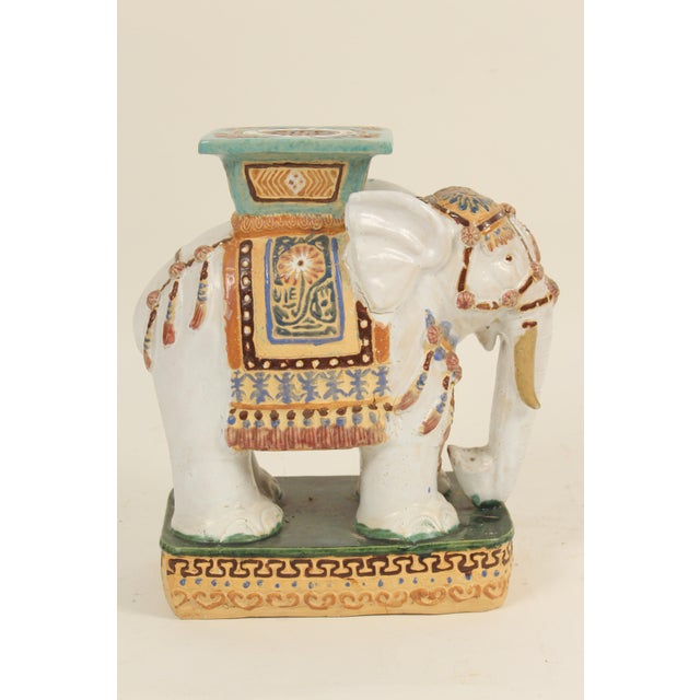 Asian 1980s Chinoiserie Polychrome Decorated Stoneware Elephant Form Garden Seats - a Pair For Sale - Image 3 of 11