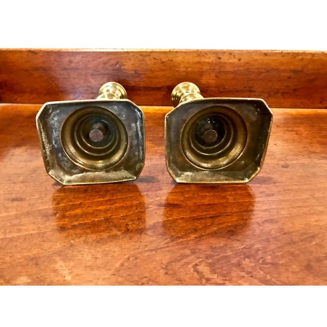 Traditional Pair 19th C. Brass Candlesticks For Sale - Image 3 of 6