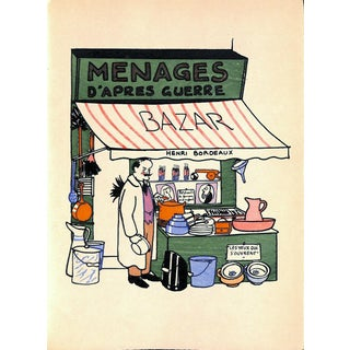 Paris Storefront, French Lithograph, Menages d'Apres Guerre, Guilac 1925, Matted For Sale