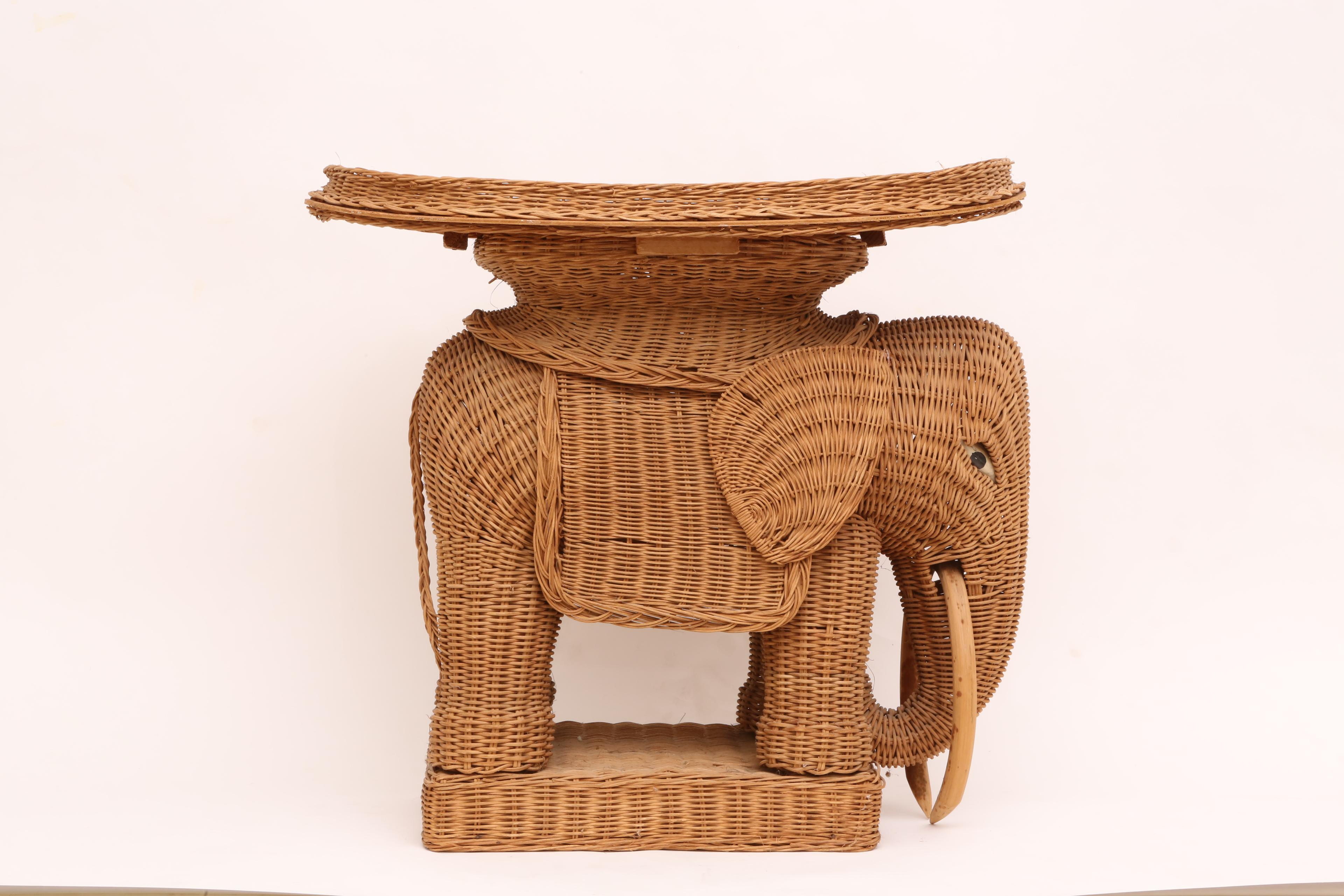 Exceptional Vintage Rattan Wicker Elephant Side Table   Image 3 Of 9