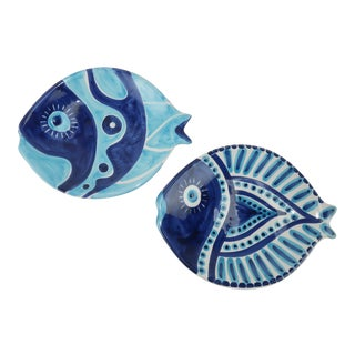 Italian Ceramic Hand Painted Fish Plates, Set of 2 For Sale