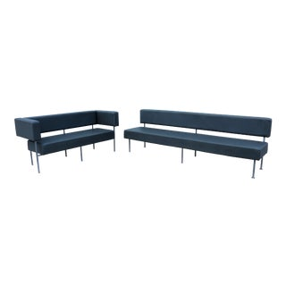 Modern Hightower Longo Floating Sofa Set in Gray EcoSoft Leather Komplot Design - a Pair For Sale