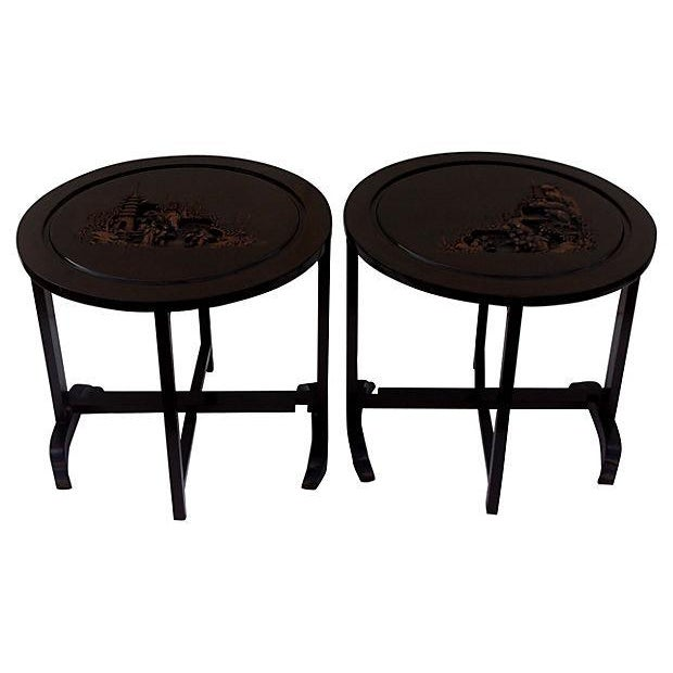 Asian-Style Folding Side Tables - Pair For Sale