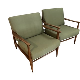 Mid-Century Walnut Lounge Chairs - a Pair For Sale