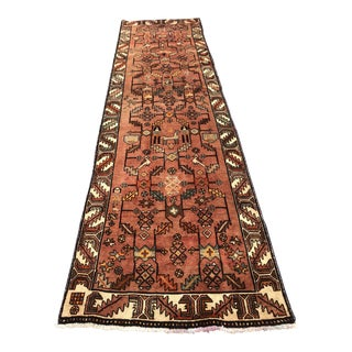 "Kurdish Vintage Burnt Orange Wool Runner Rug - 3'5""x12'5"""